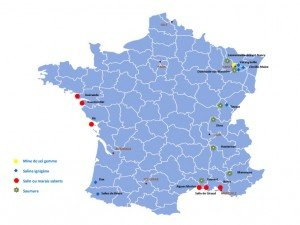 image d'une carte sur la production de sel en france